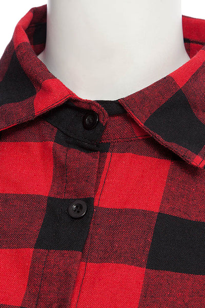 Chicloth New Wild Plaid Long Shirt Long Sleeve Casual Ladies Shirt 10