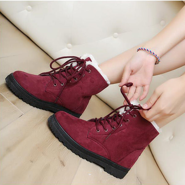[Winter Fashion] Women's Flats Closed Toe Boots Flat Heel Flocking Shoes - Chicloth