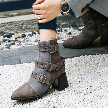 A| Chicloth Fashion Bandage Ankle Boots Shoes-Boots-Chicloth