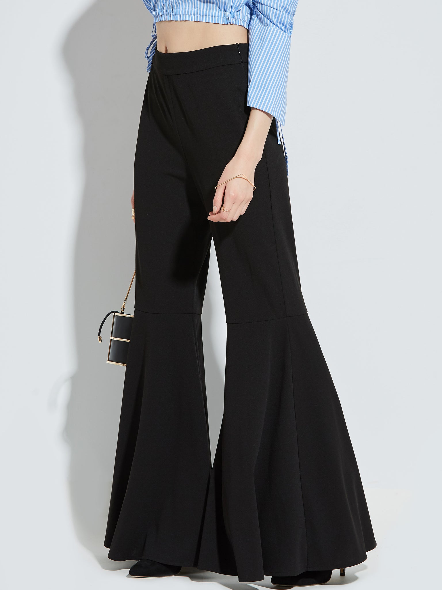 Chicloth Black Wide Leg Lotus Leaf Hem Pants