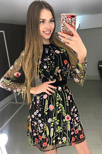 A| Chicloth Floral Embroidery Sheer Mesh Dress Mini Dress