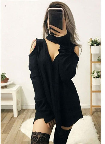 B| Chicloth Sexy Women Knitted Solid V Neck Choker Off Shoulder Knitwear