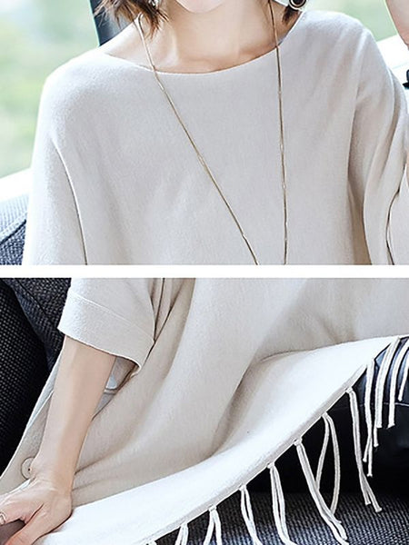 Casual Batwing Crew Neck Fringed Sweaters-Sweaters-Chicloth