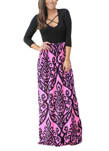B| Chicloth Printed Criss cross Plunge V Three Quarter Sleeve Bohemian Maxi Dress-polyester,print,anklelength,scoop,misses,34lengthsleeves,maxidresses-Chicloth