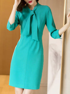 Blue Tie-neck Solid Elegant Sheath Midi Dresses