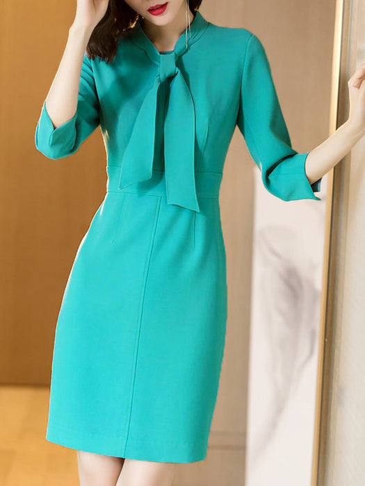 Chicloth Blue Tie-neck Solid Elegant Sheath Plus Size Dresses-Plus Size Dresses-Chicloth