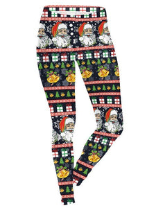 Black Santa Claus Printed Christmas Leggings Casual Feet Pants for Women