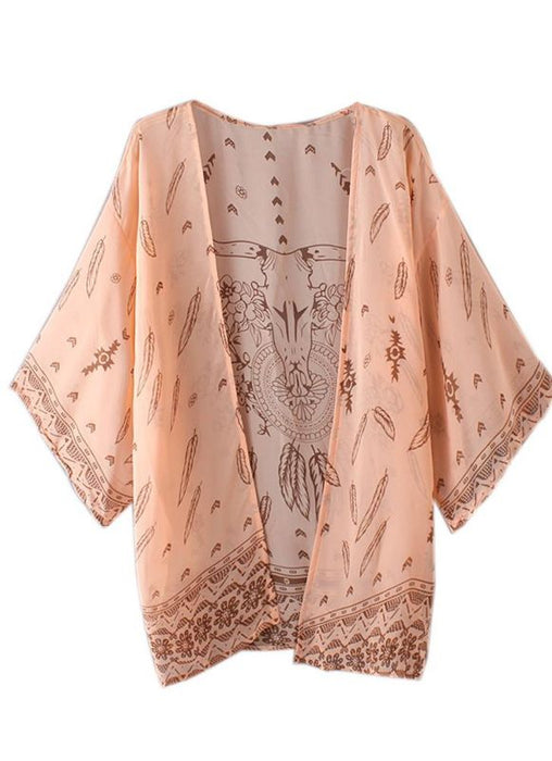 B| Chicloth Women Summer Shirt Kimono Beach Cover Up Outerwear-polyester,chinlon,coverup-Chicloth
