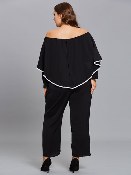 Chicloth Black Off the Shoulder Lotus Leaf Plus Size Jumpsuit