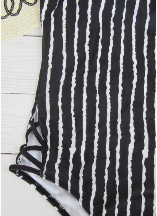B| Chicloth Striped Print V Neck Hollow Out Waist Cross Straps Padded Women Swimsuit-nylon,polyester,onepieceswimsuit-Chicloth