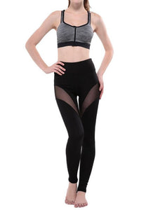 Chicloth Sports Yoga Sheer Mesh Splice Women's Stretch Leggings-Leggings-Chicloth