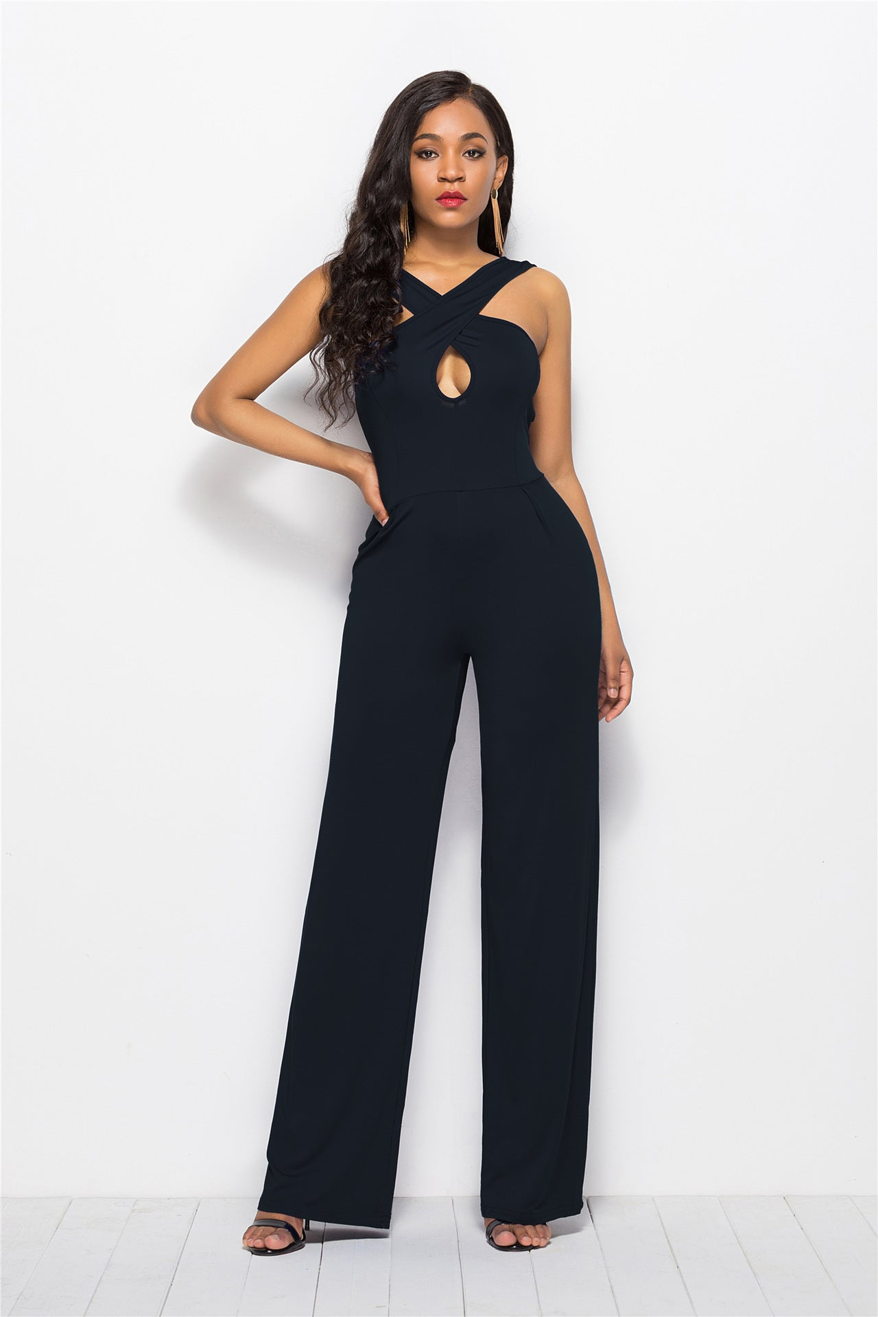 B| Chicloth Black Ployester Sexy Loose Pants Loose Jumpsuits