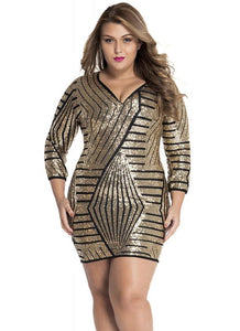 B| Chicloth Long Sleeve Gold Sequin Dress-polyester,mini,vneck,plussizedresses-Chicloth