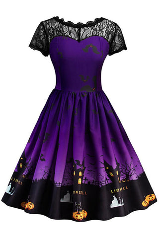 A| Chicloth Women Short Sleeve Halloween Retro Lace Vintage Dress A Line Pumpkin Swing Dress