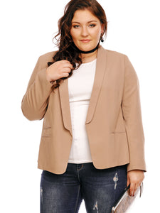 Chicloth Light Apricot Lapel Plus Size Blazer