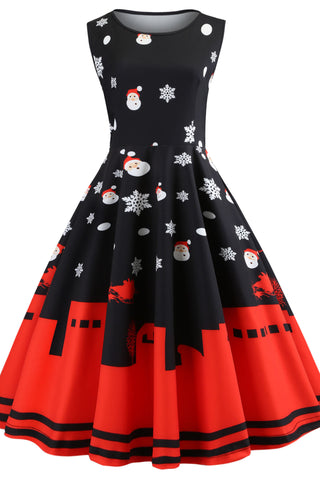 A| Chicloth Christmas Vintage Sleeveless Party Dress Christmas Dresses