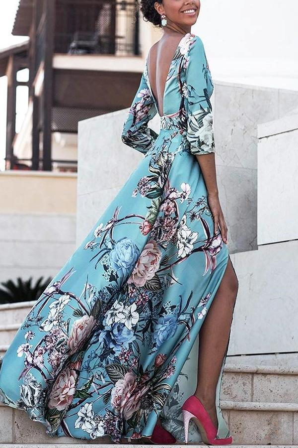 A| Chicloth Sexy Backless Floral Print Vacation Maxi Dress