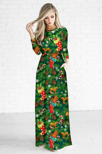 A| Chicloth Christmas Printed Fitted Floral Maxi Dress-Christmas Fashions-Chicloth