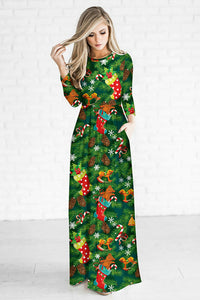 A| Chicloth Christmas Printed Fitted Floral Maxi Dress