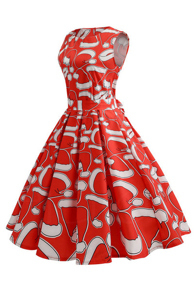B| Chicloth Women Christmas Print Pin Up Swing Lace Party Panel Dress-party dresses-Chicloth