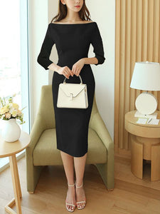 Bateau/boat neck Midi Dress Bodycon Party Dress 3/4 Sleeve Elegant Solid Dress