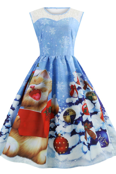 A| Chicloth Christmas Snowflake Cat Print Mesh Panel Dress Christmas Dresses-Christmas Dresses-Chicloth