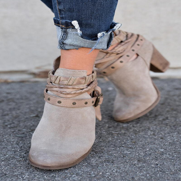 A| Chicloth Buckle Closed Toe Chunky Heel Boots