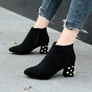 Suede Winter Chunky Heel Beading Pointed Toe Boot