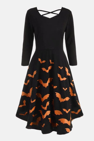 B| Chicloth Casual Halloween Spider Web Print Flare Dress-party dresses-Chicloth