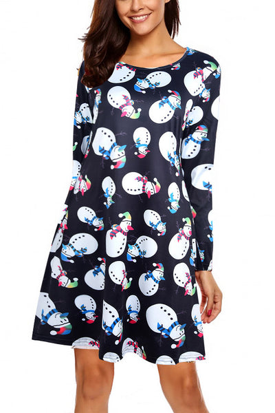 A| Chicloth Women Casual Snowman Snowflake Printed Cute Christmas Dresses