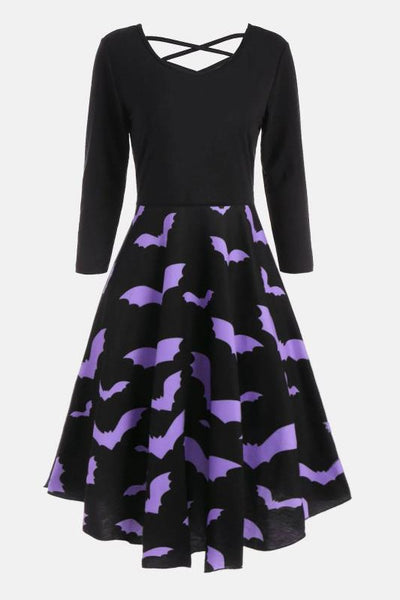 B| Chicloth Casual Halloween Spider Web Print Flare Dress