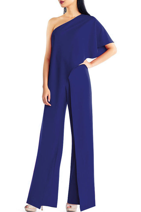 A| Chicloth Womens Adrianna Papell Crepe One Shoulder Jumpsuits-Jumpsuits-Chicloth
