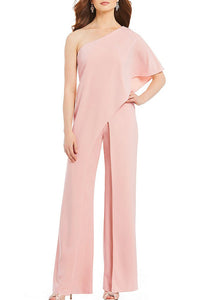 A| Chicloth Womens Adrianna Papell Crepe One Shoulder Jumpsuits