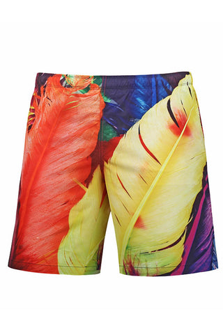 A| Chicloth Feather Printed Men's Swim Trunks Beach Board Shorts With Mesh Lining-Chicloth