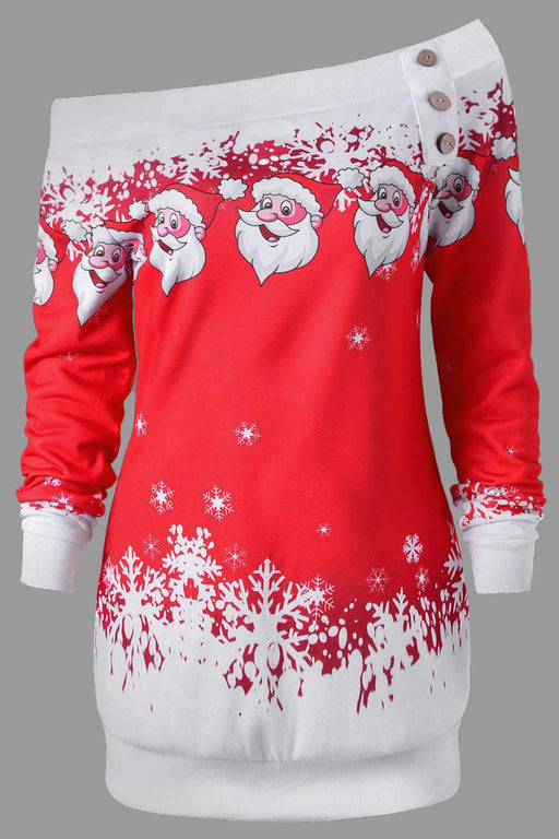 A| Chicloth Christmas Hooded Santa Claus Print Dress Christmas Dresses-Christmas Dresses-Chicloth
