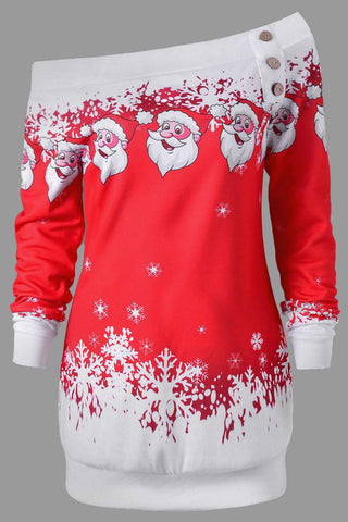 A| Chicloth Christmas Hooded Santa Claus Print Dress Christmas Dresses