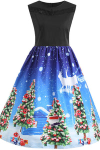 Plus Size Christmas Santa Claus Sleeveless Dress Christmas Dresses