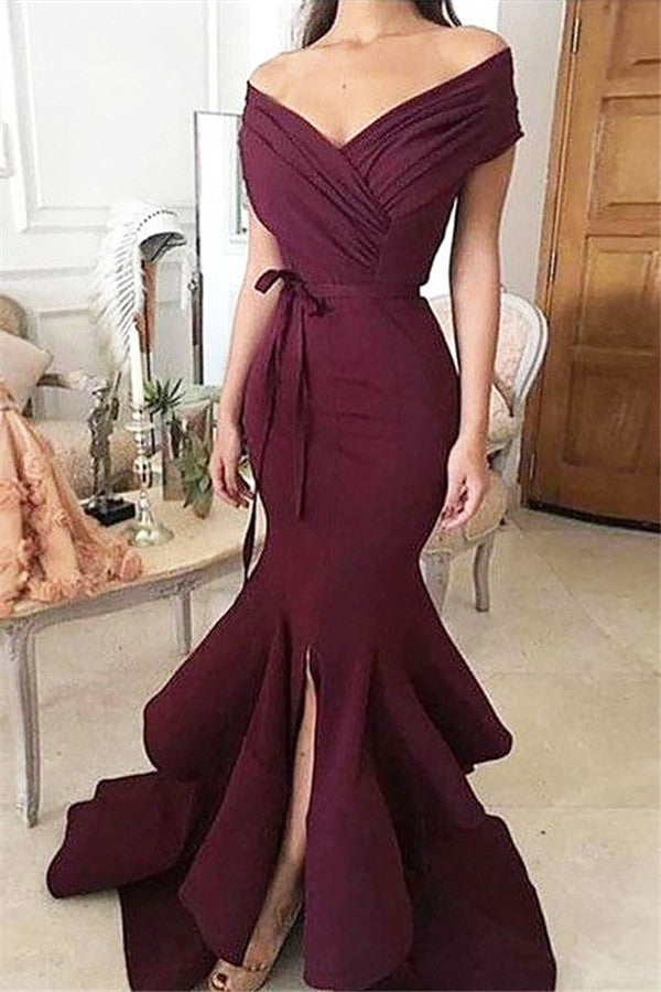 B/ Chicloth Burgundy Off-the-Shoulder Mermaid Prom Evening Dresses - Burgundy / US 14