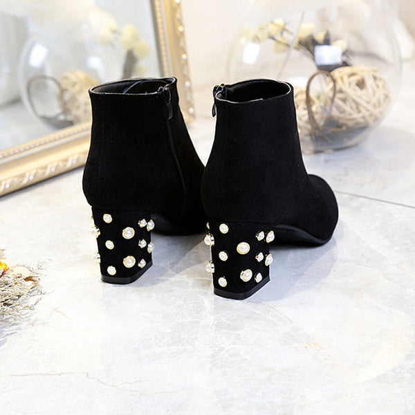 A| Suede Winter Chunky Heel Beading Pointed Boots-Boots-Chicloth