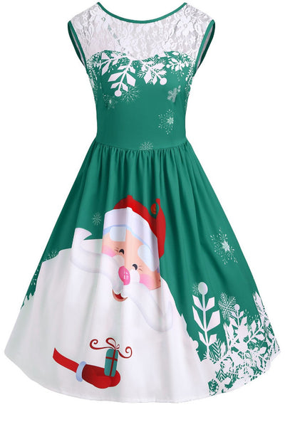 A| Chicloth Christmas Lace Insert Santa Claus Print Party Dress Christmas Dresses-Christmas Dresses-Chicloth