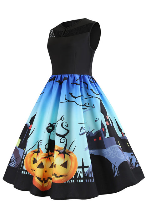 B| Chicloth Halloween Retro Double O-Neck Flare Dress-party&event dresses-Chicloth