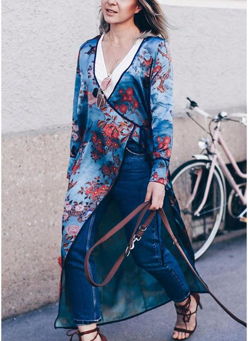 B| Chicloth Vintage Women Kimono Floral Bird Print V Neck Tied Ethnic Oriental Outerwear-nylon,polyester,coverup-Chicloth