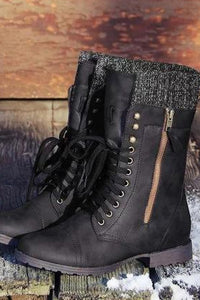 A| Chicloth Vintage Knitting Wool Boots Mid Calf Boots-Boots-Chicloth