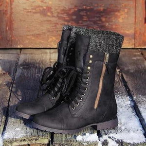 A| Chicloth Vintage Knitting Wool Boots Mid Calf Boots