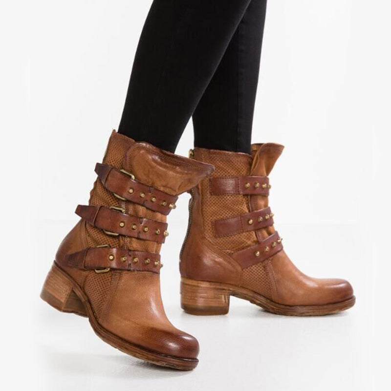 B| Chicloth Leather-Trimmed Quilted Plain Boots-Boots-Chicloth