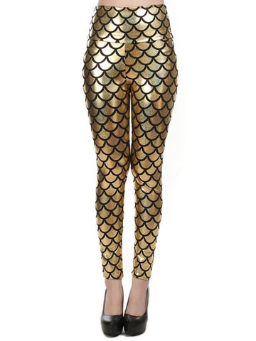 New Street Style Slim Sexy High-Waisted Golden Mermaid Fish Scale Imitation Leather Leggings
