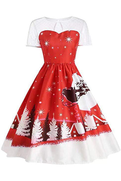 A| Chicloth Santa Claus Deer Christmas Vintage Dress Christmas Dresses-Christmas Dresses-Chicloth