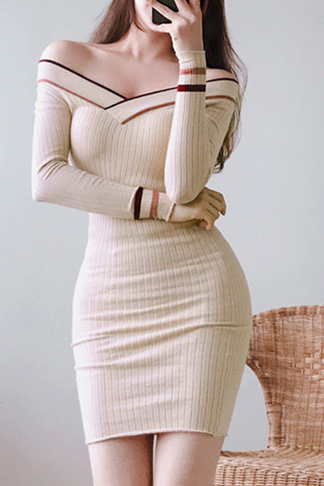 A| Chicloth Sexy Off Shoulder Striped Patchwork Knitted Dress Bodycon Dresses-Bodycon Dresses-Chicloth
