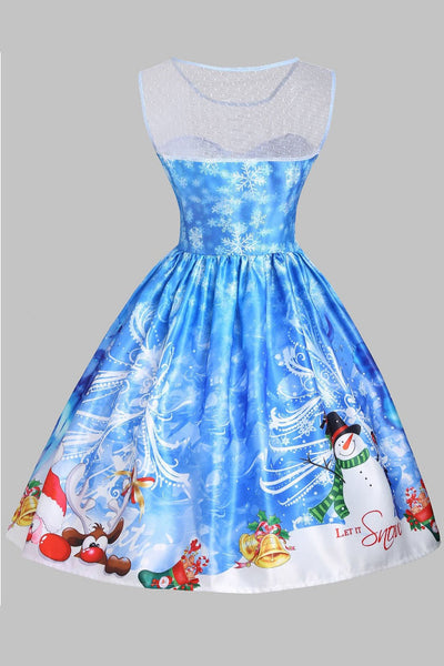 A| Chicloth Christmas Snowman Snowflake Mesh Panel Dress Christmas Dresses-Christmas Dresses-Chicloth