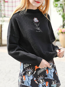 Black Crew Neck Embroidered Floral Casual Sweater
